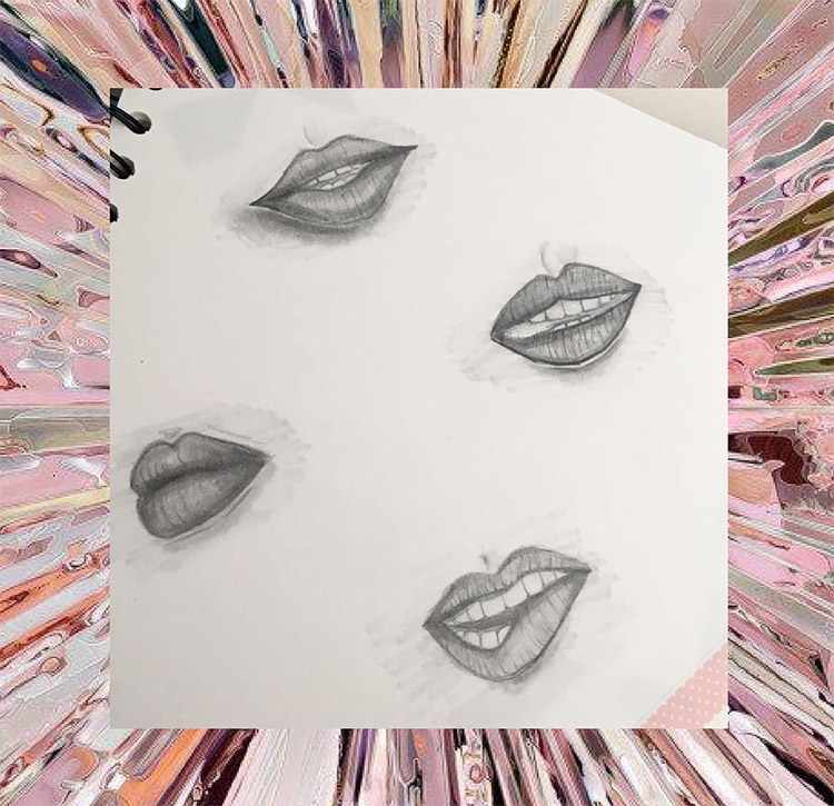 Dark pencil sketches lips