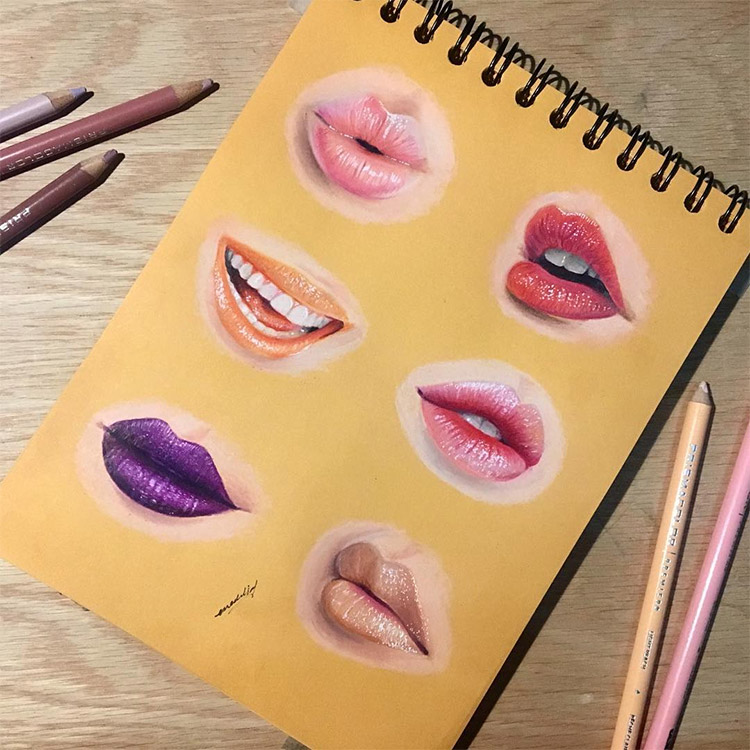 Pink purple lips drawings