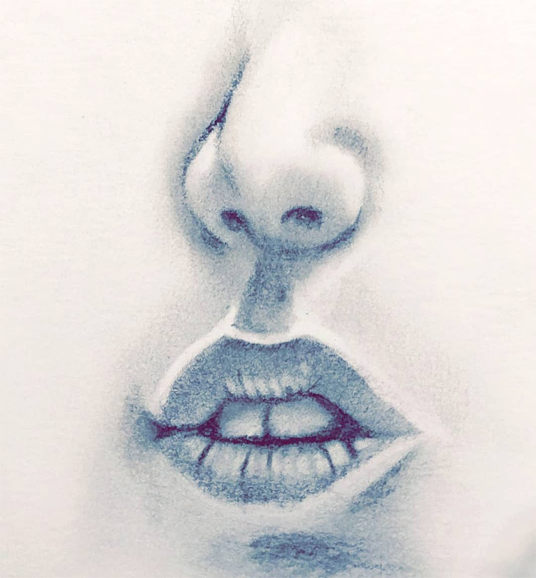 Drawing of lips and nose in graphite