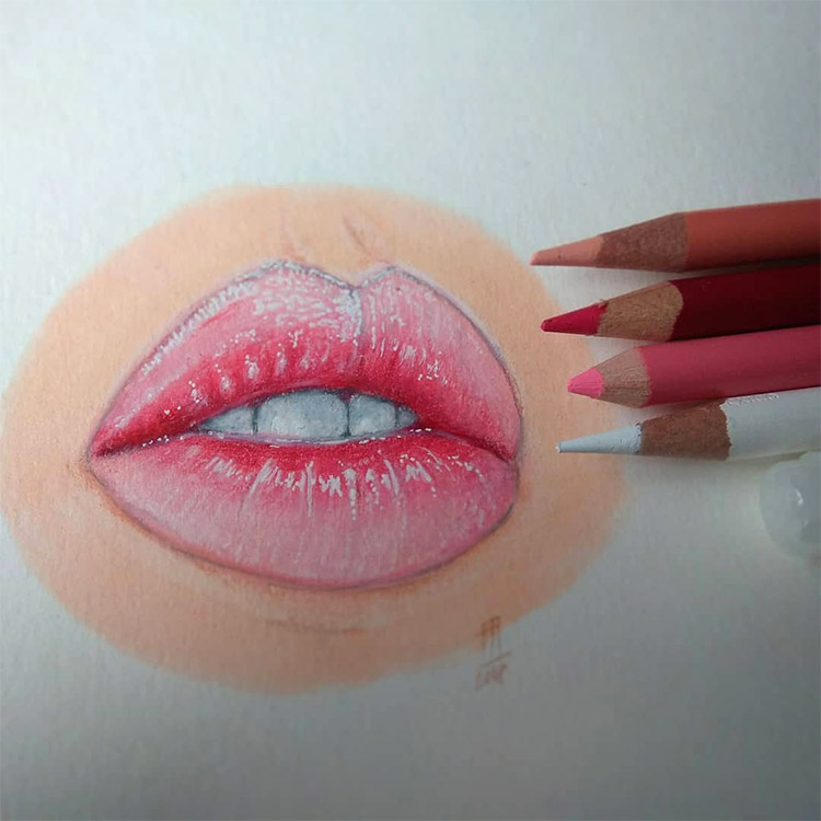 Pink lips drawing colored