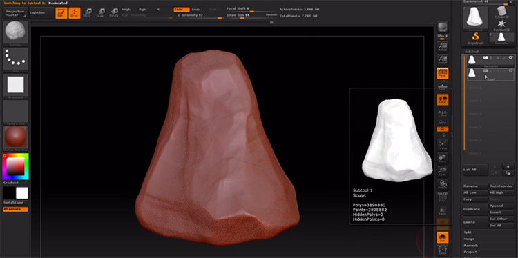 Sculpting rocks in ZBrush