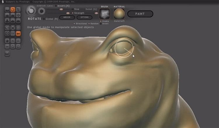 Sculpting a frog character in Sculptris