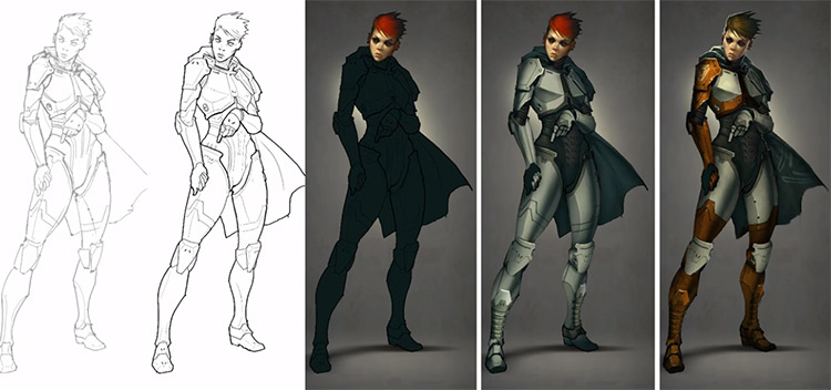 Character drawing painting progression from Digital Painting Studio