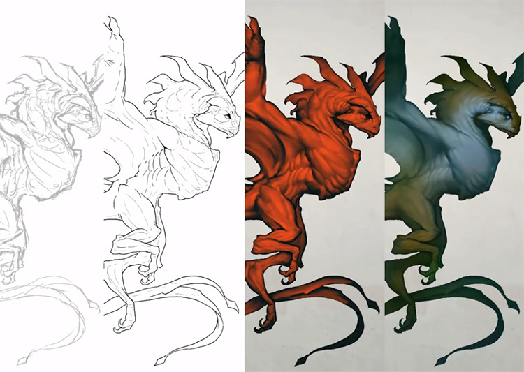 Creature progression concept art Digital Painting Studio