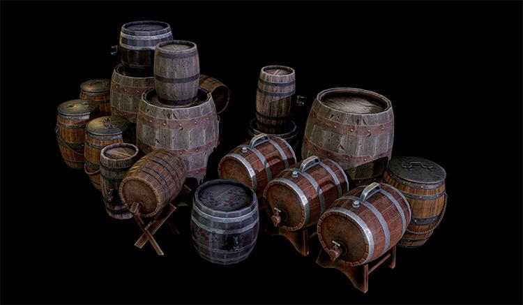 3d barrels modeled free