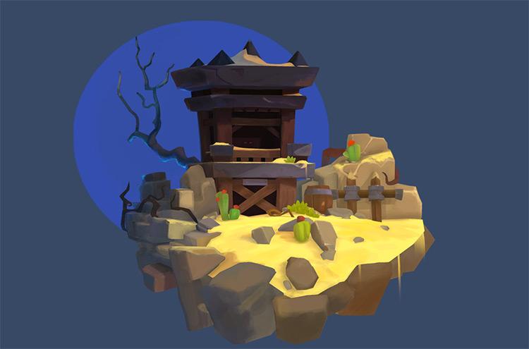 Old cartoon tower 3d render