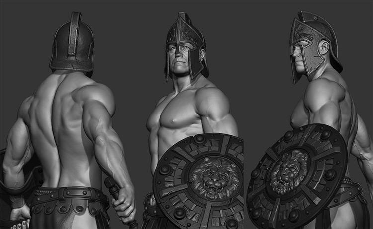 3d gladiator character model