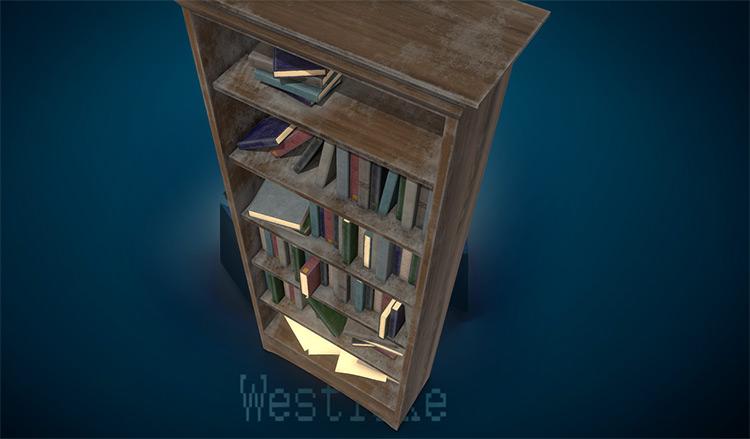 Dusty old bookshelf 3d render