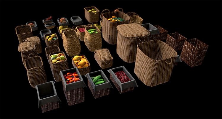3d rendered fruit baskets