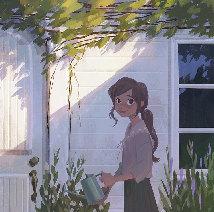 Girl watering plants character painting