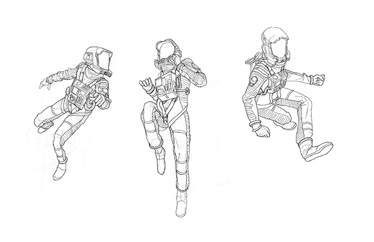 Sketches of Spacemen Astronauts, Concept Designs