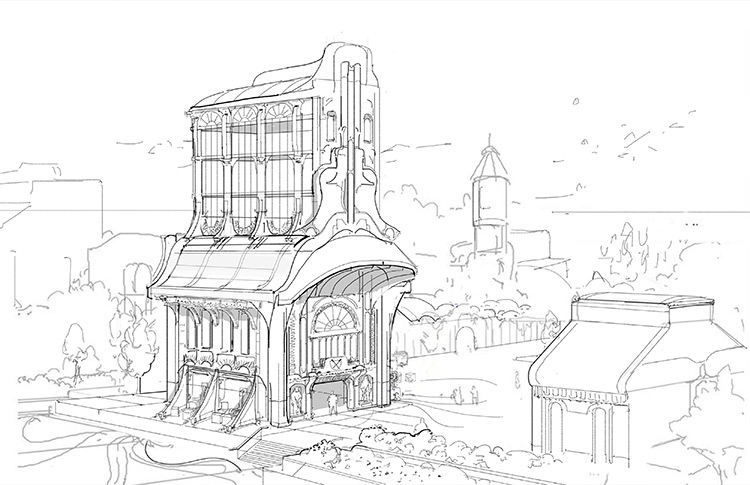 Environment Rough Sketch - Concept Artwork Design