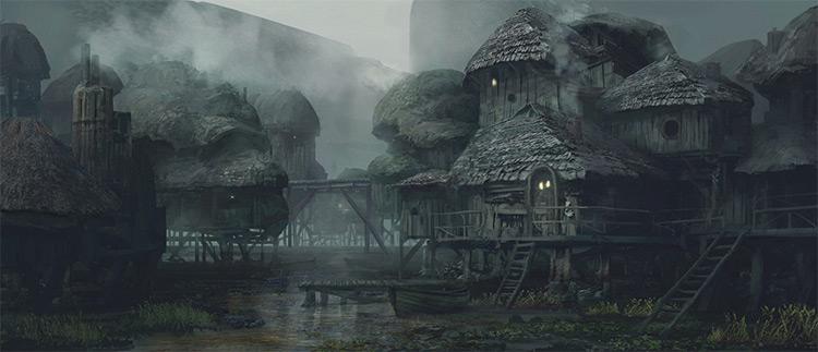 swamp town environment art