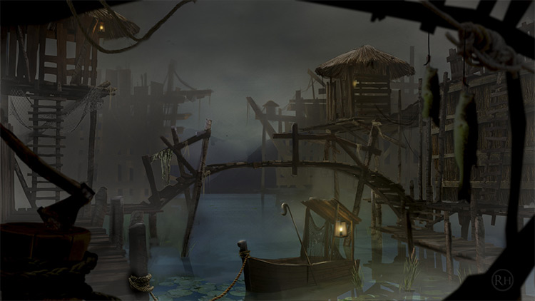 swamps and the docks boats