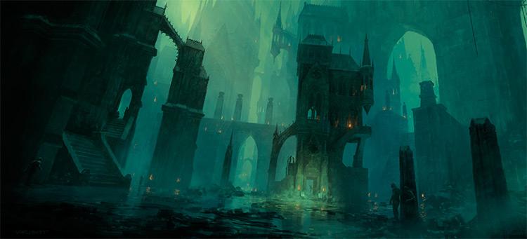 dark building ruins in swamp