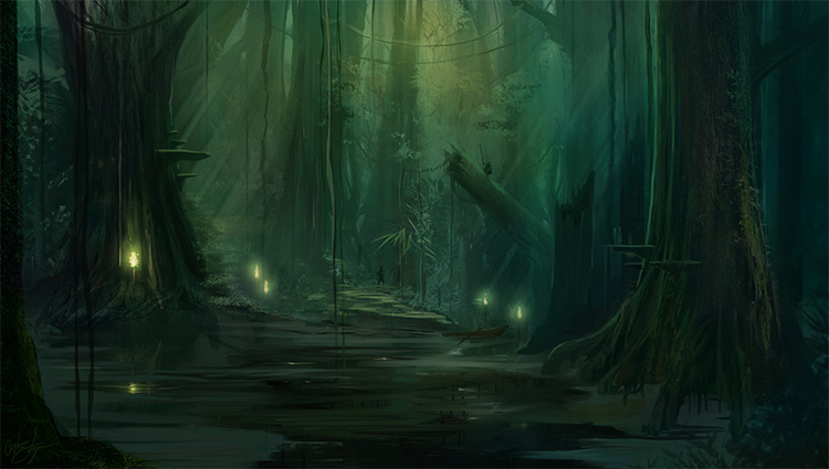 deep in the swamps
