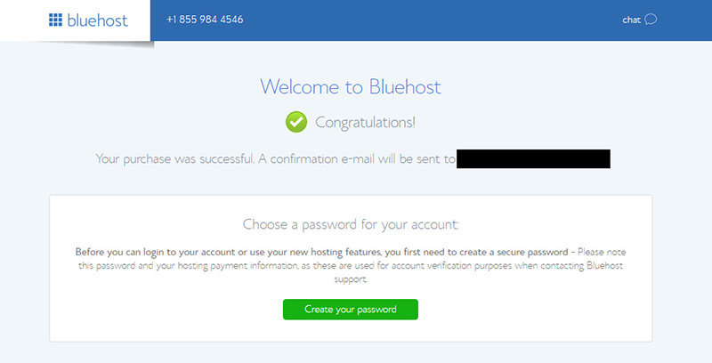 setup bluehost password page