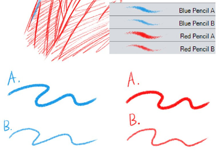 Red & Blue Pencil Brushes