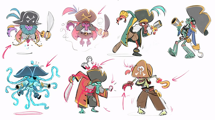 21Draw Character design illustration course, pirate sketches
