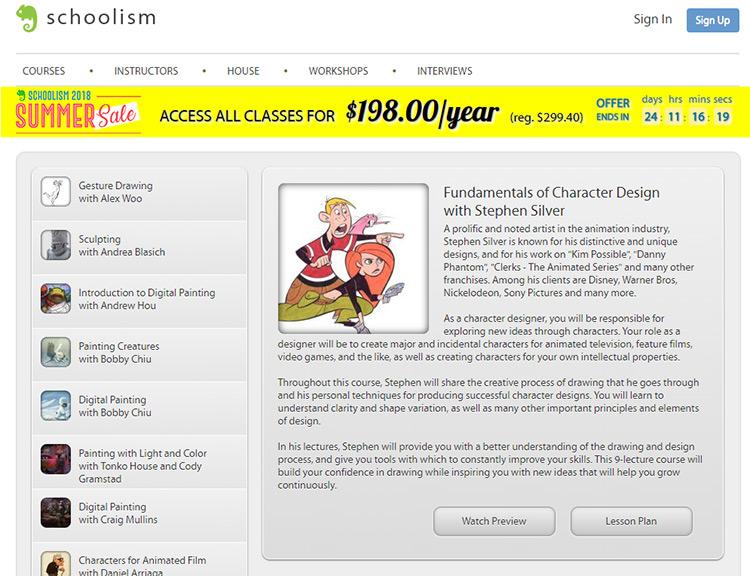 Schoolism illustration course