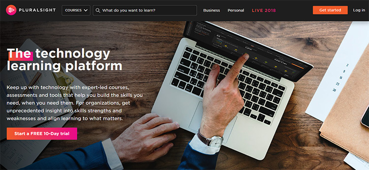 Pluralsight homepage