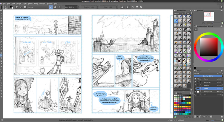Krita storyboard by David Revoy