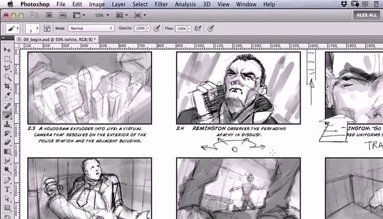 Photoshop storyboard sample