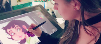 Samanta Erdini artist drawing on a Cintiq