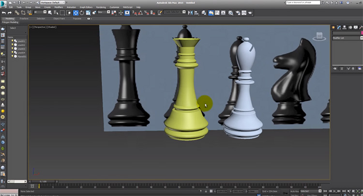 3ds Max rendering chess pieces