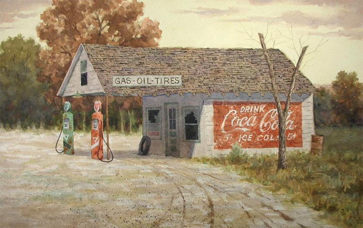 Gas station realist painting