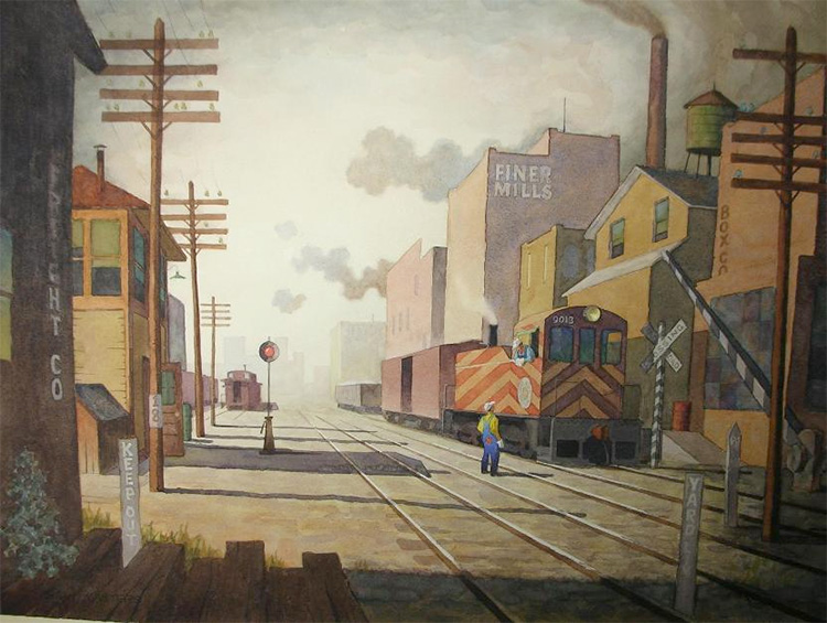 Railroad switcher realist painting