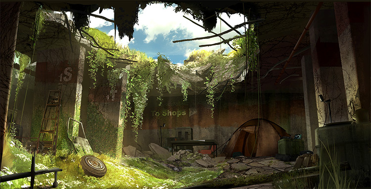 Background painting of overgrowth