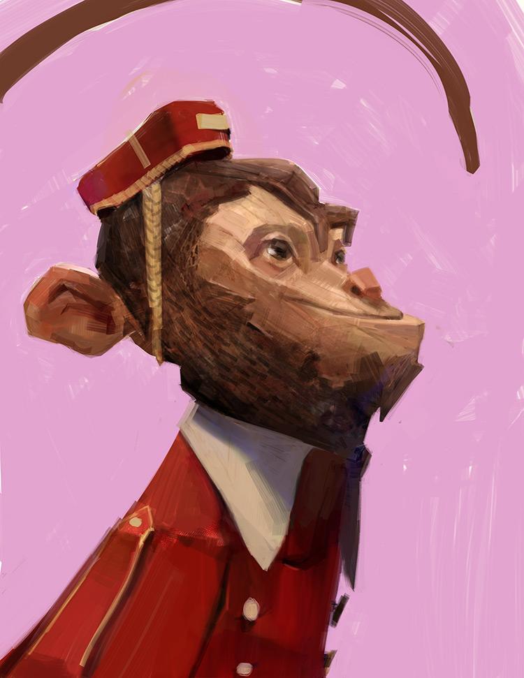 Monkey butler character design