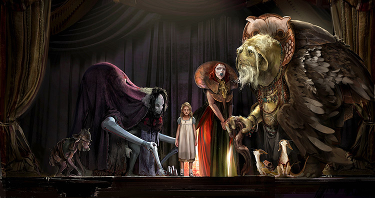 Stage concept design with characters and creatures