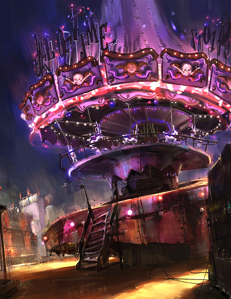 Carnival amusement park ride concept art painting
