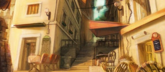 Featured background painting of European alleyway