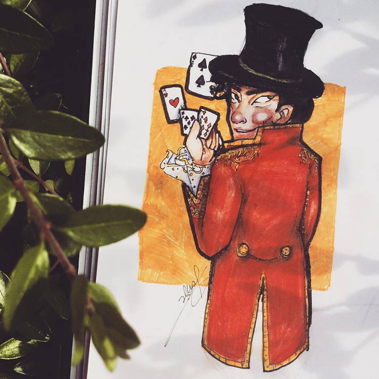 Magician character drawing