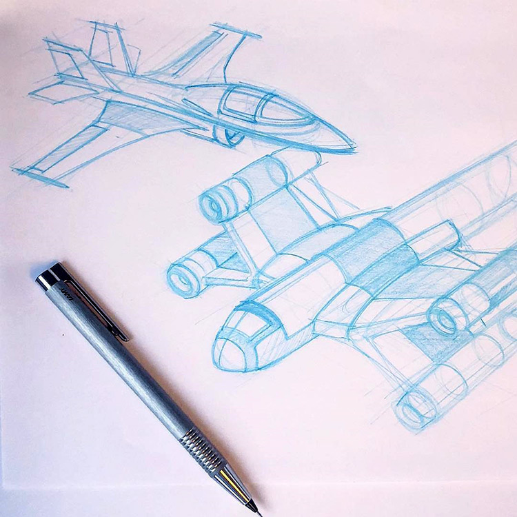 Sketching different flying jet plane designs for styles