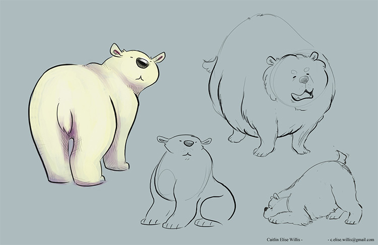 polar bear sketches by elise