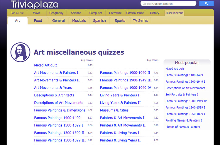 Triviaplaza art quizzes