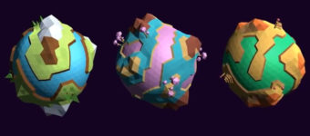 3d planets lowpoly