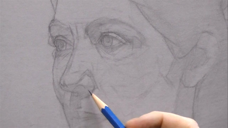 Underdrawing face portrait Vitruvian course
