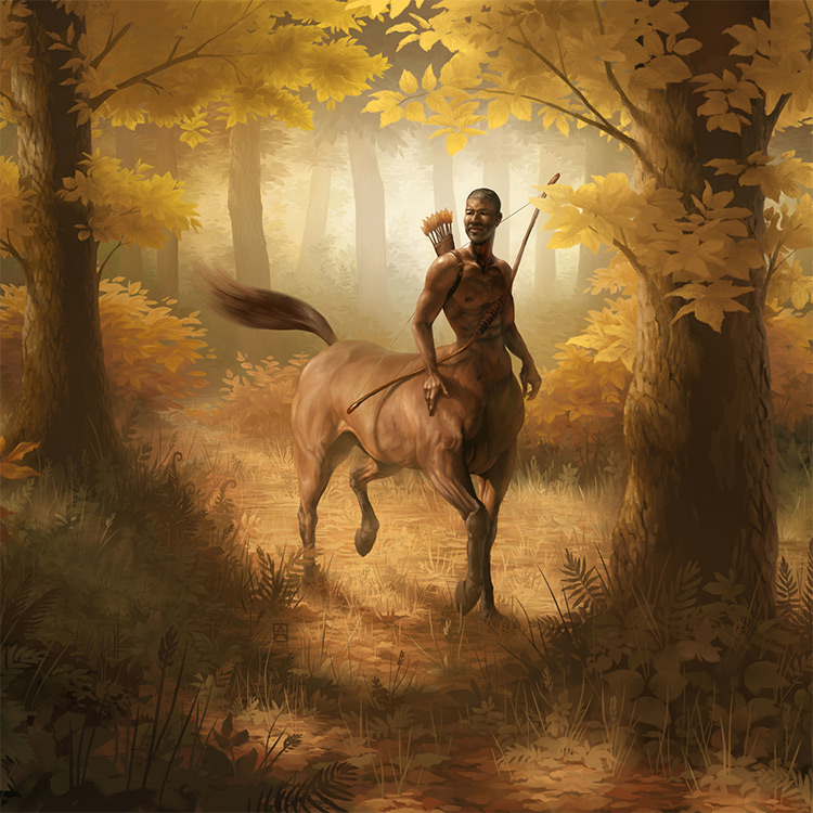 archery centaur in woods