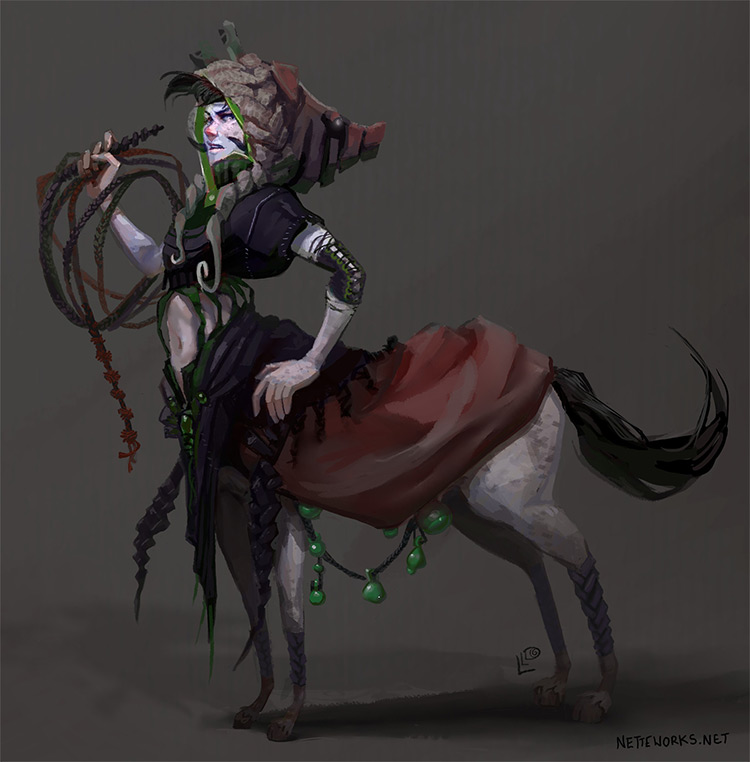 digital painting female centaur