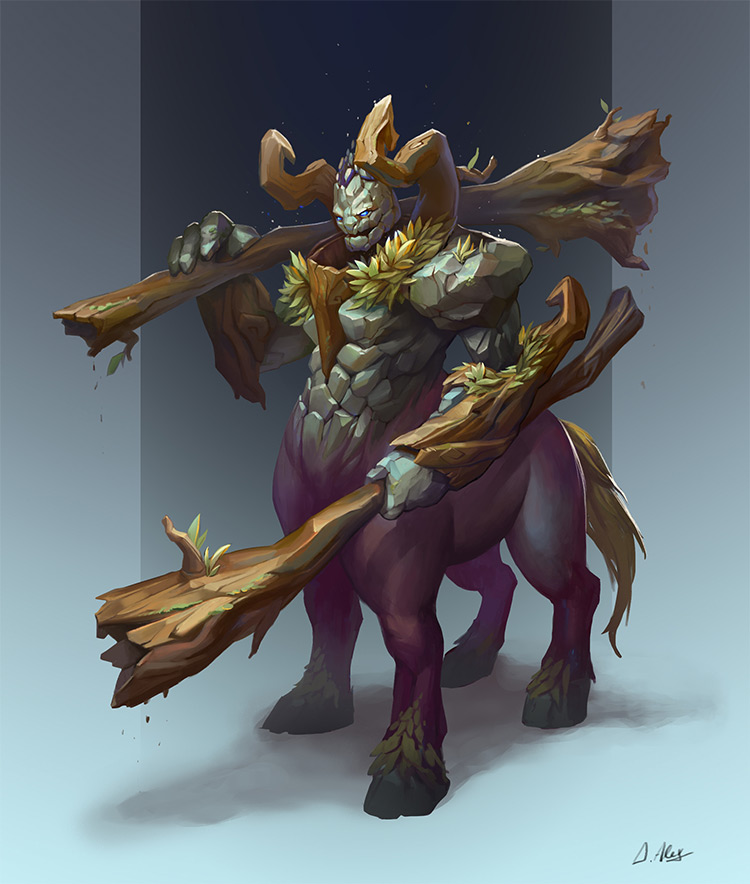 golem centaur wood rock design