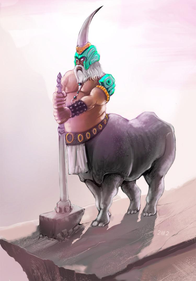 horned hammer centaur creature