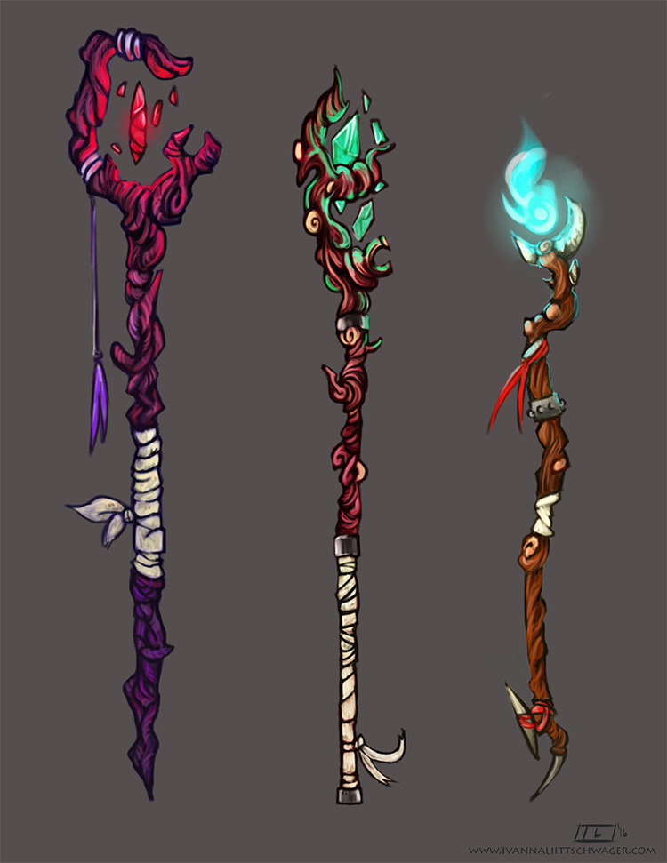 shaman staff weapons art