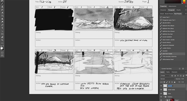 photoshop storyboard sample bloop course