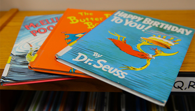 Stack of Dr Seuss books