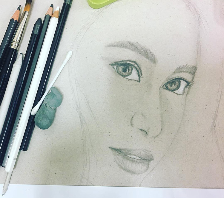 Pencil portrait face drawing